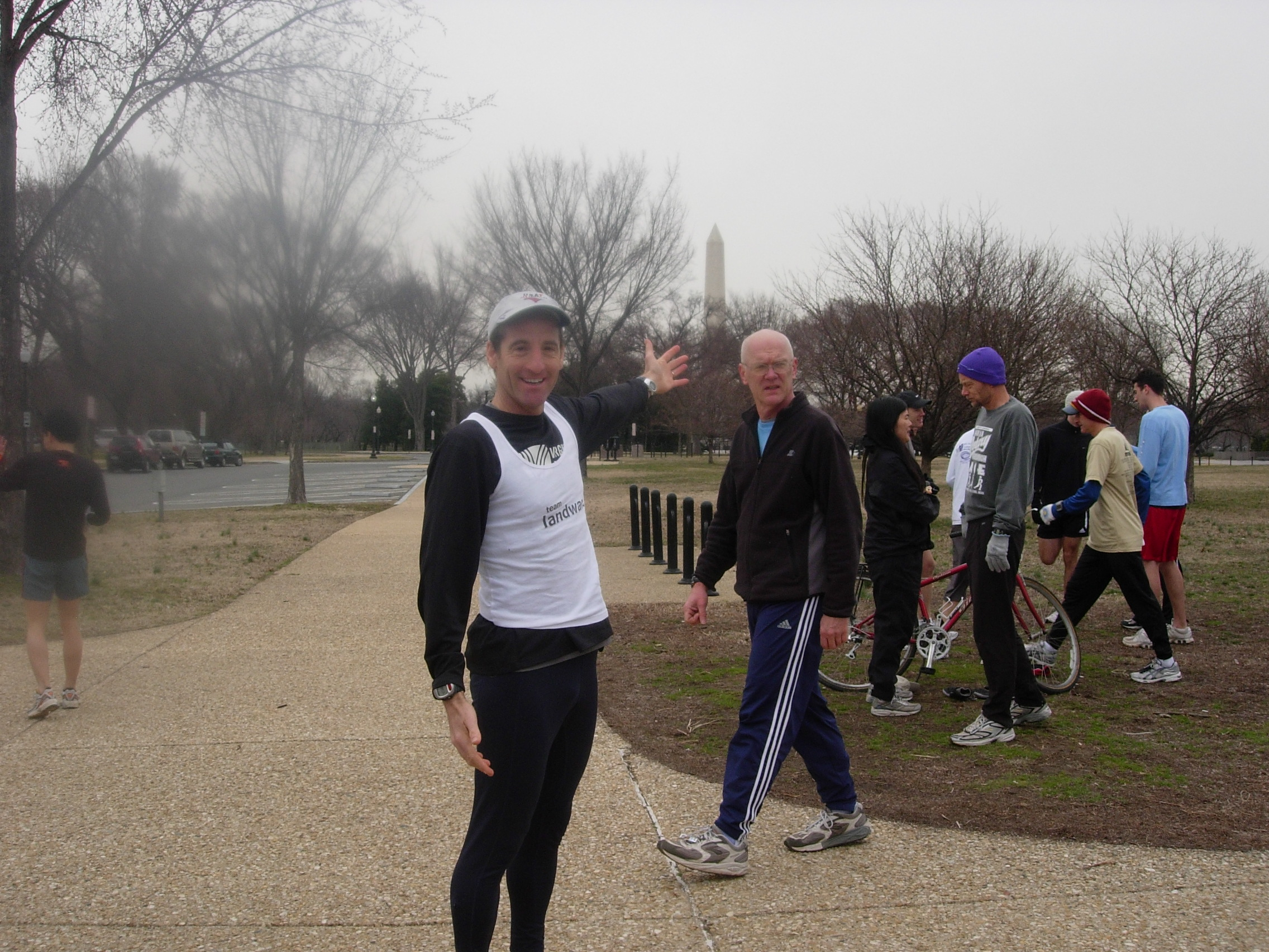 Doug Landau showing the Tidal Basin 3km. starting line with the Washington Monument in the background