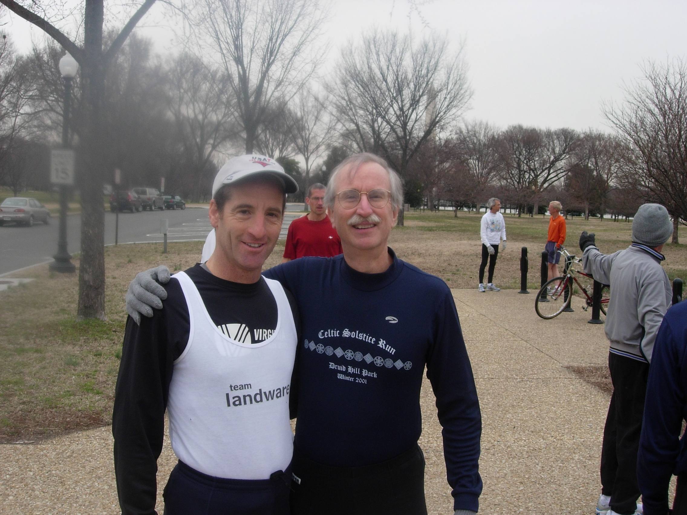 Triathlon Trial Lawyer Doug Landau & frequent area racer Peter Plank shown at the starting area for the DCRRC Tidal Basin 3km.