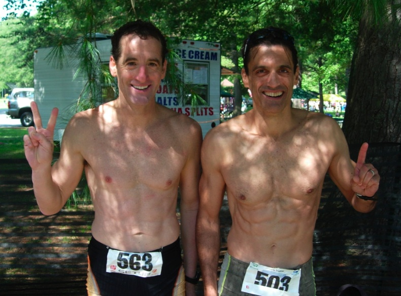 Doug Landau & client Rob Urbach after the Luray Olympic Distance Triathlon, August, 2008
