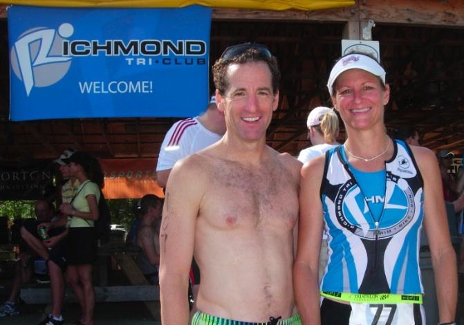Richmond Multisport RD Laurie & Doug after the Shady Grove YMCA Sprint Triathlon