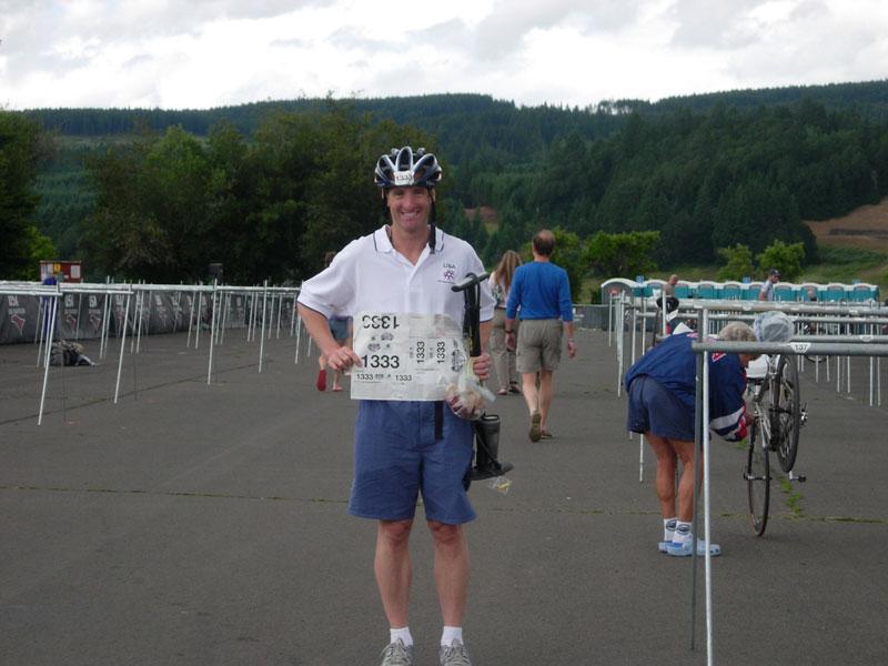 TriathlonLawyer Doug Landau at the Transition area