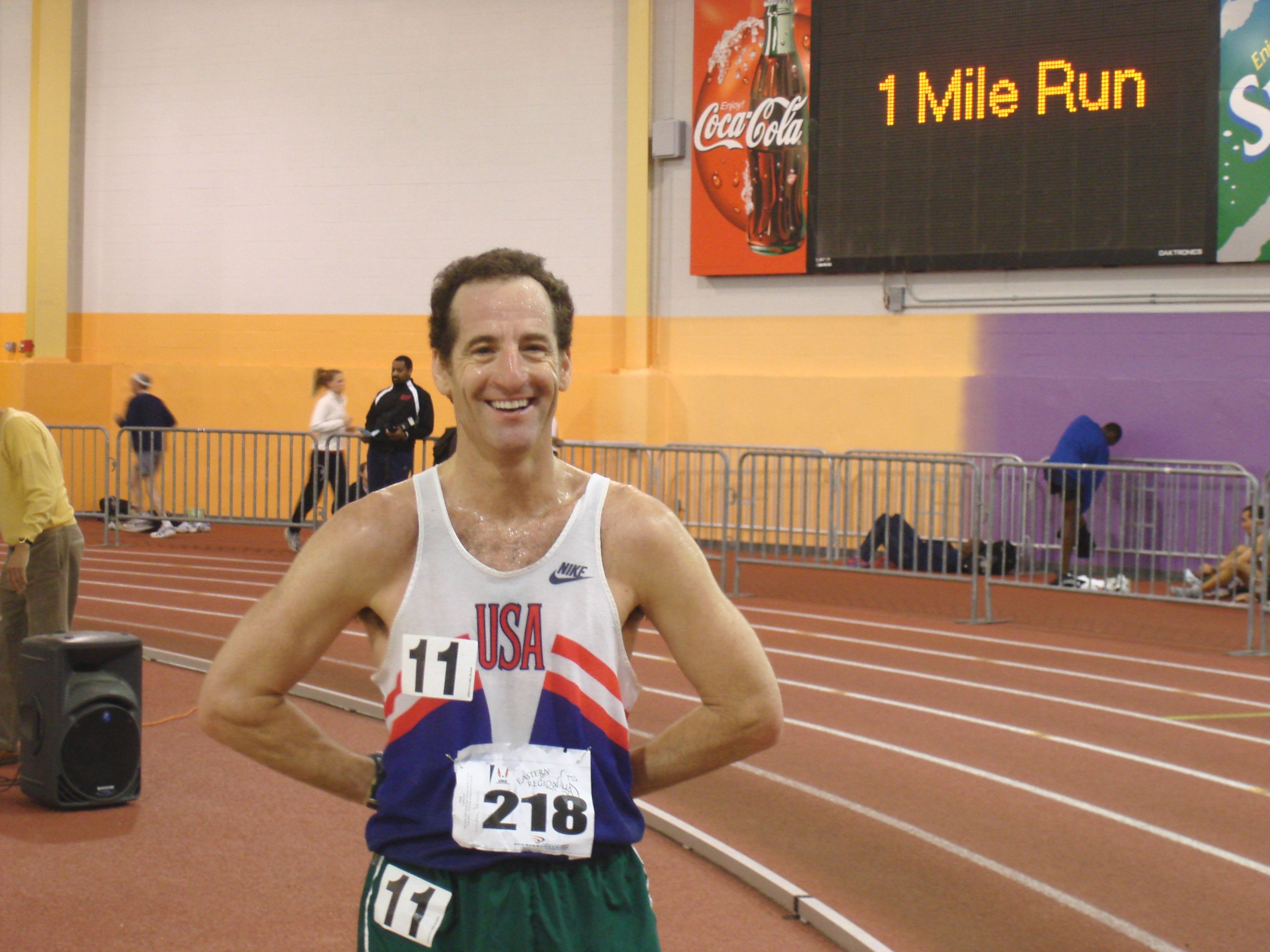 Doug Landau, TheAthletesLawyer, after running the mile at the Eastern Masters Regionals at the PGSLC indoor track
