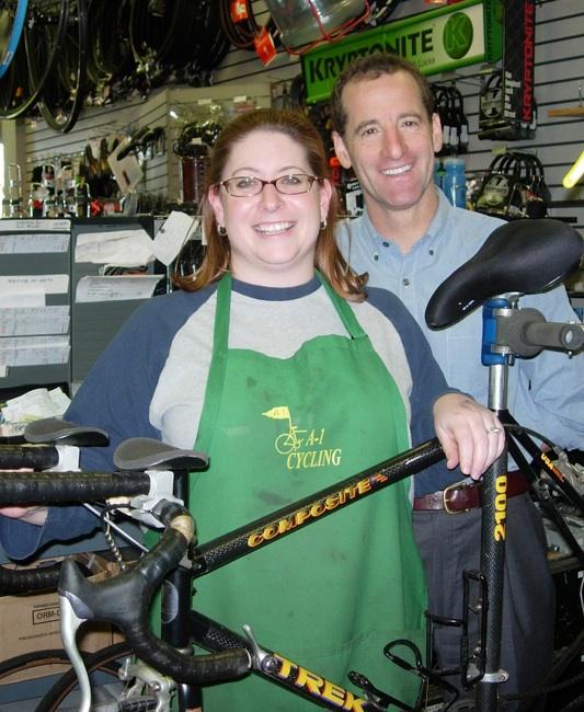 TriathlonTrialLawyer Doug Landau and Sarah Velasquez of A-1 Cycling in Herndon, Virginia