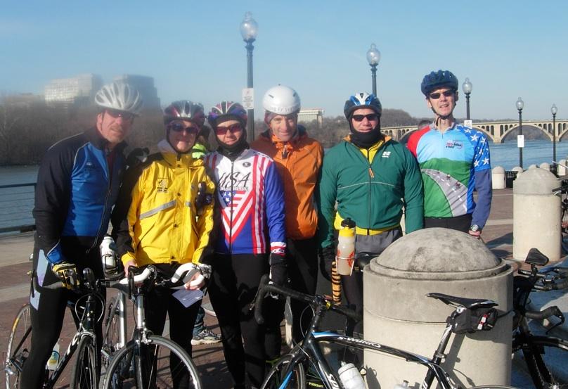 (L-R) Virginia bicyclists Rob & Stephanie Colburn, Mary Delaney, Doug Landau, Dennis Greene & Steve Robinson brace for the cold, windy VASA ride.